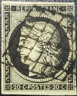 FRANCE Y&T N°3 Cérès 20c Noir Sur Jaune. Oblitéré Grille. - 1849-1850 Ceres