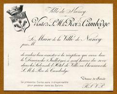 "NANCY  (54) : "" VISITE Du ROI Du CAMBODGE ""  (1906) - Historische Documenten"