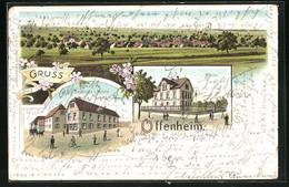 Lithographie Offenheim, Ortsansicht, Gasthaus Zur Krone, Schule - Zonder Classificatie