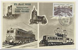 ELYSEE 10FR AU RECTO CARTE ELECTRICATION DIJON VALLORBE 25.1.1958 DIJON - 1921-1960: Modern Period