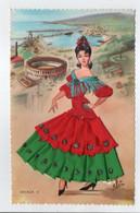 - CPSM FOLKLORE - MALAGA (avec Costume Tissé Sur La Carte) - Ed. JOPAMA - - Trachten