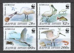 Korea North 2009 Mi 5495-5498 MNH WWF - BLACK-FACED SPOONBILL - Unused Stamps