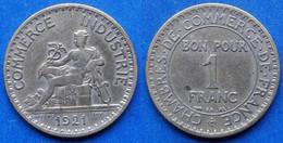 FRANCE - 1 Franc 1921 KM# 884 III Republic (1871-1940) - Edelweiss Coins - Non Classificati