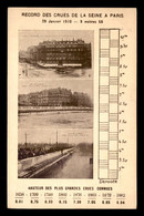 75 - PARIS -  INONDATIONS DE 1910 - RECORDS DES CRUES DE LA SEINE - La Crecida Del Sena De 1910
