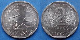 "FRANCE - 2 Francs 1993 ""Jean Moulin"" KM# 1062 Fifth Republic  (1959-2001) - Edelweiss Coins - Non Classificati"