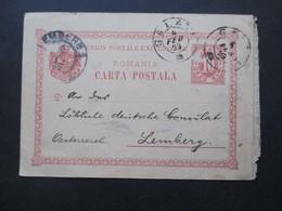 Rumänien 1899 Ganzsache An Das Kaiserlich Deutsches Konsulat Lemberg Mit Eingangsstempel - Covers & Documents