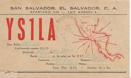 San Salvador QSL Card  P. Used To Cuba . 2 Stamps ; Luis Andreu. Map . Carte Geographique - El Salvador