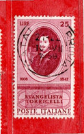Italia °- 1958 - EVANGELISTA TORRICELLI.  Unif. 842 .  Vedi Descrizione. - 1946-60: Gebraucht