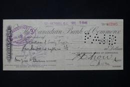 CANADA - Chèque Canadien En 1941 Avec Fiscaux Au Verso - L 82600 - Cheques & Traveler's Cheques