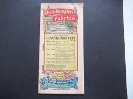 Deutsches Reich 1937 Rheindampfer Fahrten Fahrpläne 1937 Der Köln - Düsseldorfer Rheindampfschiffahrt Farbig Illustriert - Europa
