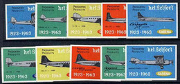 Matchbox Labels - Complete Set Of 10 Sabena Airlines, Superb Unused Condition - Zündholzschachteletiketten