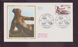"""France, FDC Enveloppe Du 20 Avril 1974 à Paris """" Europa,  Sculpture De Maillol """" - 1970-1979"""