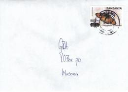 Tanzania 2020 Musoma Blood-red Acraea Acraea Petraea Butterfly Insect Overprint 900/- On 700/- Domestic Cover - Tansania (1964-...)