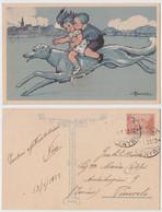 Busi - Bambini Su Levriero, Enfants Levrette, Children And Greyhound, Dog, Chien, Illustree, Illustrata, Cavalcano, 1923 - Busi, Adolfo