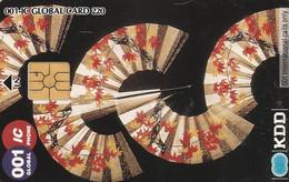 Japan, JP-KDD-001IC-0008A,  KDD 001-IC Global Phone (chipcards), Fan, 2 Scans. - Japan