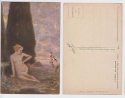 Prof Rabes - Die Quelle, La Source, La Fonte, Femme Nue Assise, Sitting Naked Woman, Dorato, Or, Donna Nuda Seduta - Pittura & Quadri