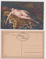 F. Vinea - Una Baccante, Bacchant, Femme Nue Alongee, Naked Woman Lying Bed, Leopard Skin, Peau De Léopard, Leopardo - Pittura & Quadri