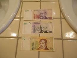 ARGENTINA  PESOS  CONVERTIBLES   10  -  50  -  100  PESOS -   3  BILLETS  LOT - Argentina