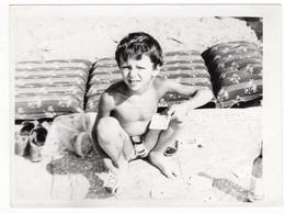 Semi Nude Naked Little Girl Boy On Beach Swimming Trunks Enfant Garçon Fille Nue La Plage Original Vintage Photo *5350D - Anonymous Persons
