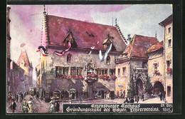Künstler-AK Regensburg, Regensburger Rathaus, Gründungsstätte Des Bayer. Lehrervereins, 1861 - Regensburg