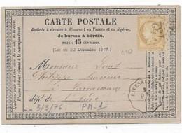 Département PYRENEES ORIENTALE  Carte 1876 Convoyeur Station RIVESALTES  Ligne P.N. Timbre Type 15c Céres - 1849-1876: Periodo Classico