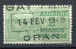 """ALGERIE TIMBRE FISCAL """" ALGERIE 2 FRANCS DROIT DE TIMBRE """" AVEC OBLITERATION ORAN 14 FEV 1949 - Used Stamps"""