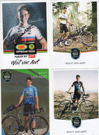 4 CARTES SIGNEES  WOUT VAN AERT - Cycling
