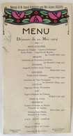 Lot De 2 Menus Déjeuner Du 20 Mai 1924 à Chinon Guiet Traiteur - Menus