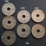 (F09) Pièces FRANCE - 25 CENTIMES LINDAUER 1932, 1933,1939 - Non Classificati