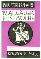 """Kempten Allgäu 1960 """" Allgäuer Festwoche """" Vignette Cinderella Reklamemarke - Cinderellas"""