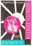 """Kempten Allgäu 1959  """" Allgäuer Festwoche """" Vignette Cinderella Reklamemarke - Cinderellas"""