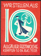 """Kempten Allgäu 1958  """" Allgäuer Festwoche """" Vignette Cinderella Reklamemarke - Cinderellas"""