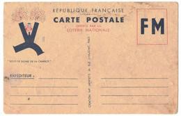 CARTE POSTALE FM FRANCHISE MILITAIRE OFFERTE PAR LA LOTERIE NATIONALE - VENDUE DANS L'ETAT - Lettere In Franchigia Militare