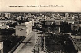 "MAROC - CASABLANCA - En 1916 - Rue Et Boulevard De L'Horloge Prise De L'Hôtel ""Elxcesior"" - Casablanca"