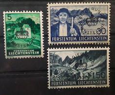LIECHTENSTEIN SERVICE 1937  Regierungsdienstsache ,3 Timbres  Yvert No 22,25,27 , Neuf ** MNH,  BTB - Official