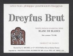 Etiquette De Vin Sparkling  -  Dreyfus Brut  -  Thème Porteur De Grappe - Ohne Zuordnung