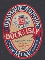 Etiquette De Bière Bock D'Isly  -  Debosque Dufour  -  Lille (59) - Beer