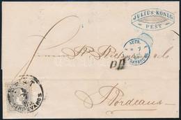 """1869 25kr Levélen Franciaországba """"PEST / LIPÓTVÁROS"""" (300.000) - Unclassified"""