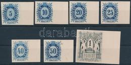(*) 1874 Távirda Sor 7 értéke, Az Eredeti Nyomólemezről Készült Fogazatlan ívszéli Próbanyomatok Kartonpapíron / Telegra - Unclassified