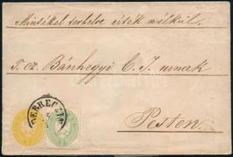 """1864 Távolsági Levél 1863-as 3kr + 1864-es 2kr Vegyes Bérmentesítéssel """"DEBREZIN"""" - Pest - Unclassified"""