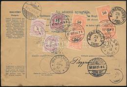 """1897 5kr Díjjegyes Szállítólevél Dániába, A Hátoldalom Hétbélyeges Bérmentesítéssel, """"SOPRON"""" - Unclassified"""