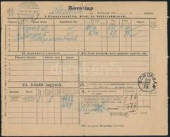 """1906 Rovatlap 2 Db Pénzeslevélről """"RÁCZKEVE - BUDAPEST 184. SZ."""" Vasúti Bélyegzéssel """"SOROKSÁR""""-ra. Rendkívül érdekes és - Unclassified"""