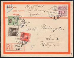 1920 Baranya Felülnyomású Díjjegyes Ajánlott Boríték Bécsbe Küldve, 5 Db Baranya Bélyeggel Bérmentesítve, Bodor Vizsgáló - Unclassified