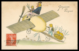 Anthropomorphisme - Joyeuses Pâques - Coq Et Poussins Sur Monoplan - Avion Coquille D'œuf - Ed. H. H. I. W. Nr. 733 - Easter