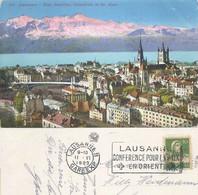 """AK  """"Lausanne - Pont Bessières, Cathédrale""""  (Flagge: Conférence Pour La Paix En Orient"""")         1923 - Covers & Documents"""