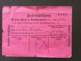 CARTE DE TRAVAIL - Arbeitsfdjein- 2/X/17 - 1914-18