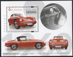 Poland 2016 Mi Bl. 258 Polish Design, FSO Syrena Sport Car, Cars MNH** - Nuevos