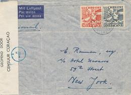 Curacao - 1941 - 20 & 15 Cent Luchtpost Op Censored Cover Van Willemstad Naar NY / USA - Strook Geopend Door Censuur - Curaçao, Nederlandse Antillen, Aruba