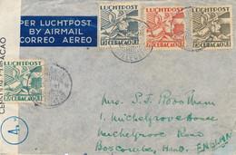 Curacao - 1941 - 4 Kleuren Luchtpost Op Censored Cover Van Willemstad Naar UK - Strook Geopend Door Censuur - No Cedilla - Curaçao, Nederlandse Antillen, Aruba