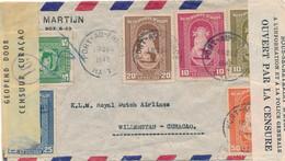 Curacao - 1942 - 8 Zegels Op 2x Censored Cover From Haiti - Witte Strook + Stempel Haiti & Gele Strook Censuur Curacao - Curaçao, Nederlandse Antillen, Aruba